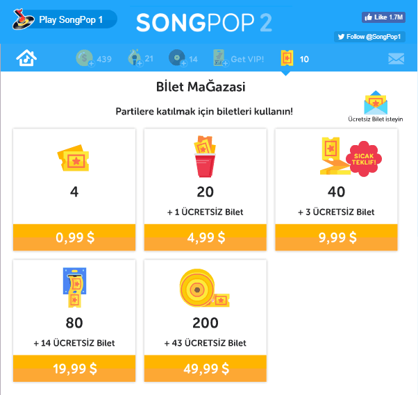 Songpop 2 Bilet ücreti ticket price